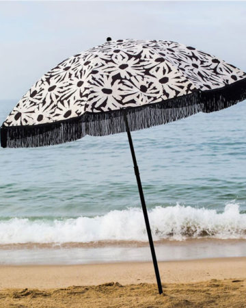 black and white daisy luxury beach umbrella, beach umbrella, beach accessory, parasol, brolly, beach brella, uv protection