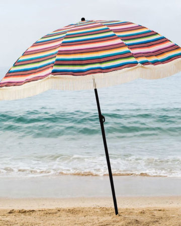 mexican blanket style beach umbrella, beach umbrella, beach accessory, parasol, brolly, beach brella, uv protection