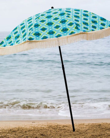 Aqua Blue and green beach umbrella, beach umbrella, beach accessory, parasol, brolly, beach brella, uv protection