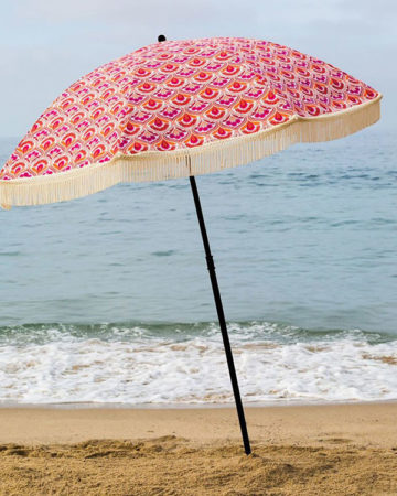 pink beach umbrella, beach umbrella, beach accessory, parasol, brolly, beach brella, uv protection