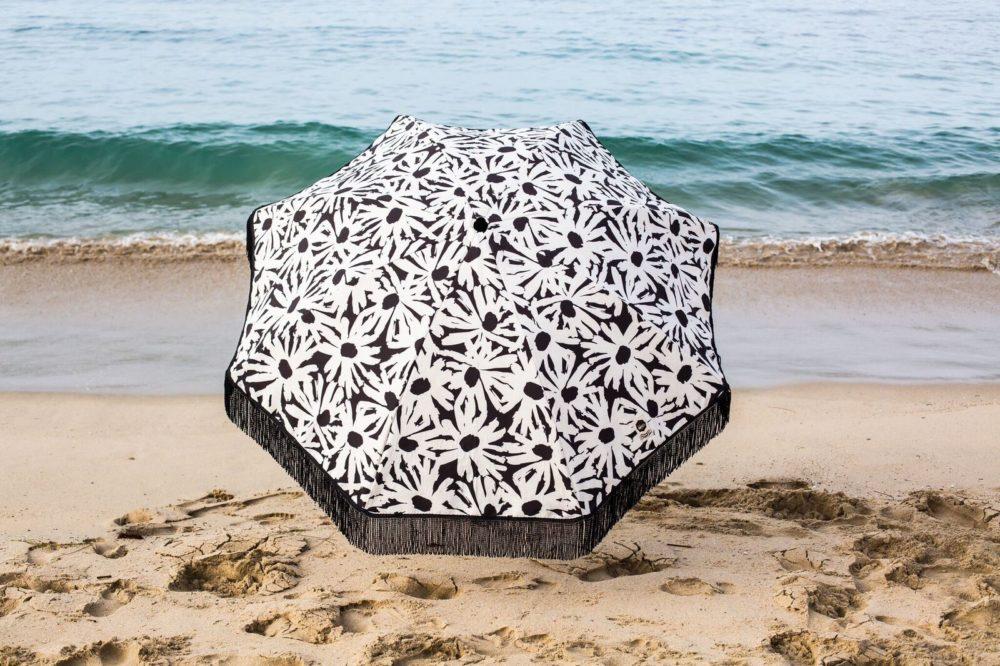 daisy black and white beach umbrella