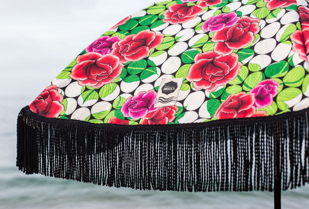 red roses and polka dot beach umbrella