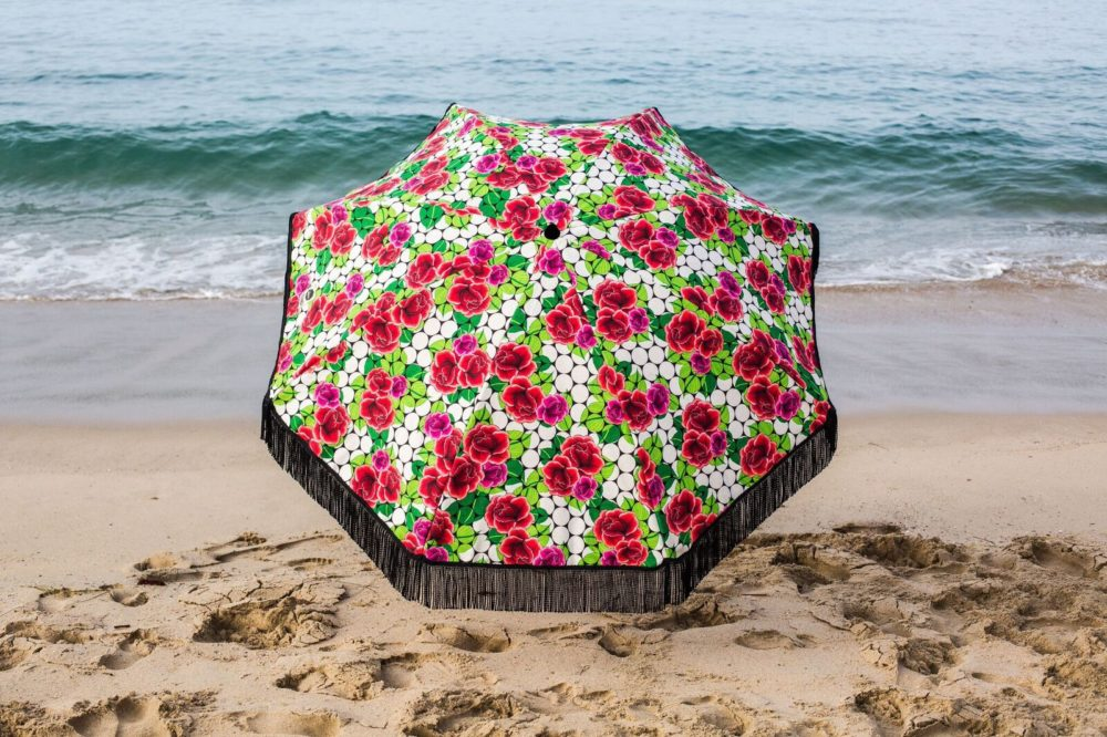 red roses on beach umbrella