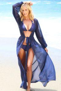Girl in Blue bikini with a long beach cover up