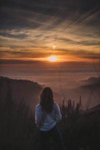 Female Hiking Top of the World Laguna Beach Sunset