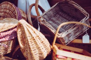A bunch of wicker baskets