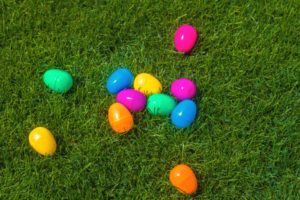 Multi Colored Easter Eggs on the grass