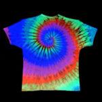 Fun glowing tie-dye shirt made in backyard by family