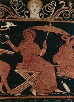 Woman of Ancient Greece holding an umbrella