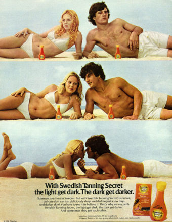 The History of beach umbrellas: A couple in vintage tanning advertisement without a beach umbrella overhead