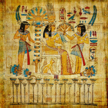 Sun umbrellas being used on king in ancient egypt